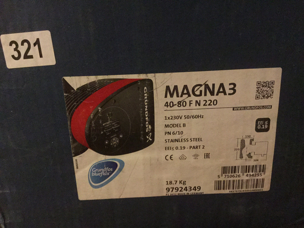Grundfos Magna3 40-80 F N (220) 97924349 Variable Speed stainless Hot Water Circulator Pump #155
