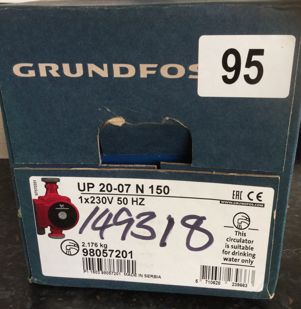 Grundfos Pump UP 20-07 N 150 Hot water circulator pump 20mm Stainless Steel 59640506 #86