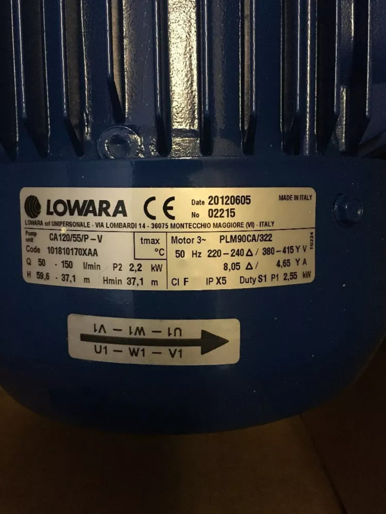 Lowara CA 120/55/P-V End Suction Home Booster End Suction 415v Stainless Pump