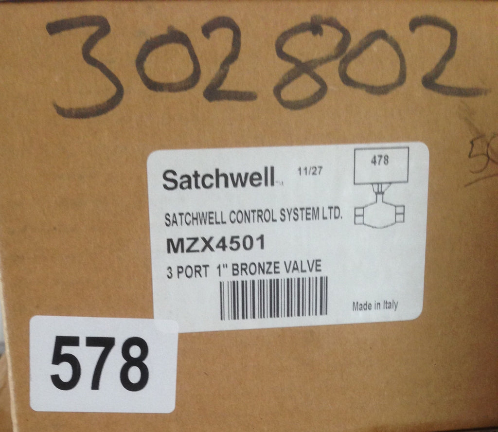 "Satchwell Schneider MZX 4501 3 Port Low Pressure 1"" Hot Water Valve Bronze #578"