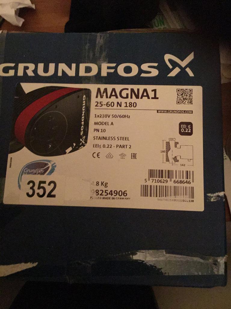 Grundfos Magna1 25 - 60 N 98254906 Stainless Steel Secondary Hot Water Pump #352