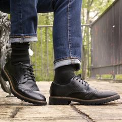 Alex Perry models the Roguish Brogues in black - photography by Gryfeathr photography.