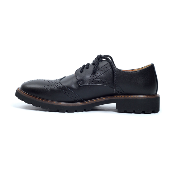 Black Tomboy Toes Roguish Brogue Semi-Formal Derby Oxford Shoe in Vegan Leather - Men's Dress Shoe for Women