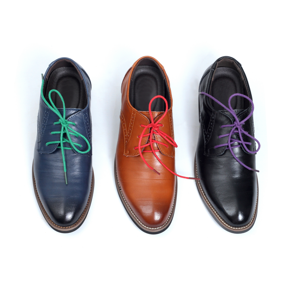 Tomboy Toes vegan leather derby shoes featuring colorful shoelaces