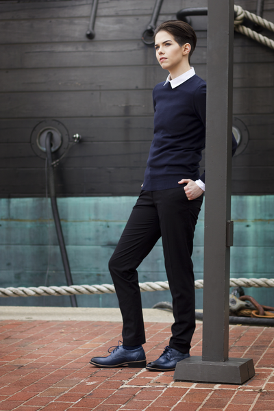Alex Perry modeling the Tomboy Toes line of Downtown Dapper semi-formal shoes for women