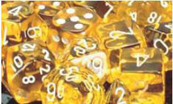 7CT TRANSLUCENT POLY DICE SET, YELLOW/WHITE