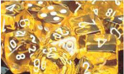 D6 -- 16Mm Translucent Dice, Yellow/White; 12Ct - Boardlandia