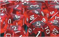 D6 -- 16Mm Translucent Dice, Red/White; 12Ct