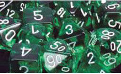D6 -- 12Mm Translucent Dice, Green/White; 36Ct - Boardlandia