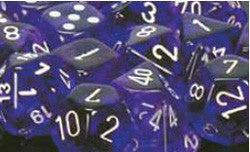D6 -- 12Mm Translucent Dice, Purple/White; 36Ct