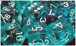 D6 -- 12Mm Translucent Dice, Teal/White; 36Ct - Boardlandia
