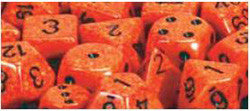 7CT SPECKLED POLY FIRE DICE SET - Boardlandia