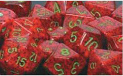 7CT SPECKLED POLY STRAWBERRY DICE SET