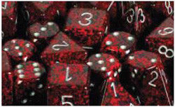 7CT SPECKLED POLY SILVER VOLCANO DICE SET