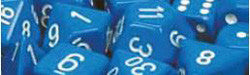 D6 -- 16Mm Opaque Dice, Blue/White, 12Ct - Boardlandia