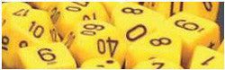 D10 Opaque Dice, Yellow/Black, 10Ct - Boardlandia