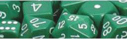 D10 Opaque Dice, Green/White, 10Ct