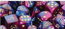 D10 Gemini Dice, Blue-Purple/Gold 10Ct - Boardlandia