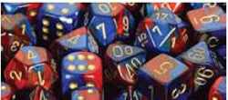 D10 Gemini Dice, Blue-Red/Gold 10Ct