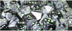 D10 Gemini Dice, Black-Grey/Green 10Ct