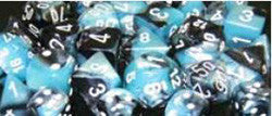 D10 Gemini Dice, Black-Shell/White 10Ct - Boardlandia