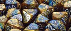 7CT GEMINI BLUE-GOLD W/WHITE DICE SET - Boardlandia