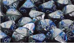 7CT GEMINI BLUE-STEEL W/WHITE DICE SET