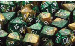 7CT GEMINI GOLD-GREEN W/WHITE DICE SET
