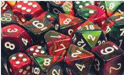 7CT GEMINI GREEN-RED W/WHITE DICE SET - Boardlandia