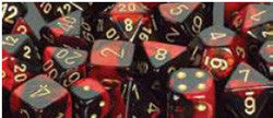 7CT GEMINI BLACK-RED W/GOLD DICE SET - Boardlandia
