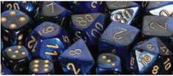 7CT GEMINI BLACK-BLUE W/GOLD DICE SET - Boardlandia
