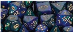 7CT GEMINI BLUE-GREEN W/GOLD DICE SET