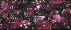 7CT GEMINI BLACK-PURPLE W/GOLD DICE SET