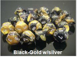 7 Dice Set - Gemini Black-Gold With Silver - Boardlandia