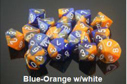 7 Dice Set - Gemini Blue-Orange With White - Boardlandia