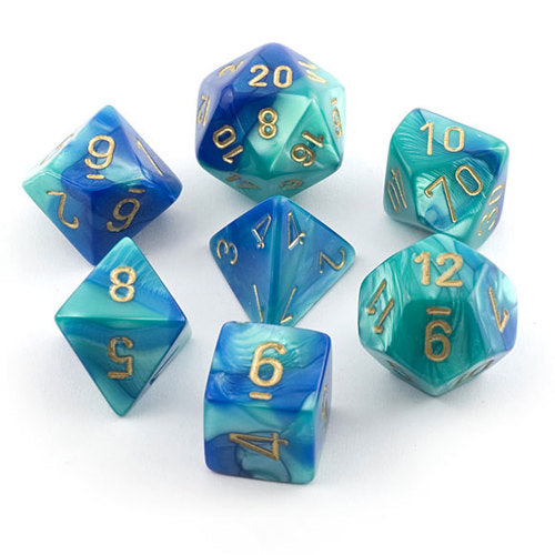 7 Dice Set - Gemini Blue-Teal With Gold