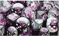 D6 -- 16Mm Gemini Dice, Purple-Steel/White; 12Ct - Boardlandia