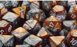 D6 -- 12Mm Gemini Dice, Copper-Steel/White; 36Ct - Boardlandia