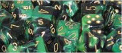 D6 -- 12Mm Gemini Dice, Black-Green/Gold; 36Ct - Boardlandia