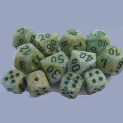 D10 Marble Dice, Green/Dark Green 10Ct