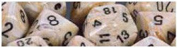 7CT MARBLE DICE SET, IVORY/BLACK - Boardlandia