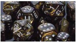 7CT LEAF POLY DICE SET, BLACK-GOLD/SILVER
