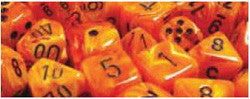 7CT VORTEX POLY DICE SET, ORANGE/BLACK