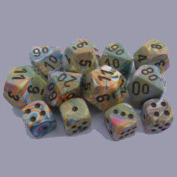 7CT FESTIVE POLY DICE SET, VIBRANT/BROWN