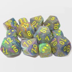 7CT FESTIVE POLY DICE SET, RIO/YELLOW