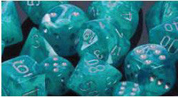 7CT CIRRUS POLY DICE SET, AQUA/SILVER