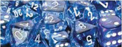 7CT NEBULA POLY DICE SET, DARK BLUE/WHITE