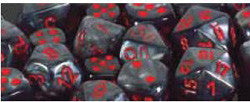 7CT VELVET POLY DICE SET, BLACK/RED