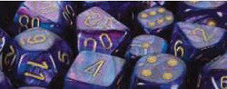 7CT LUSTROUS POLY DICE SET, PURPLE/GOLD