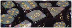 7CT LUSTROUS POLY DICE SET, SHADOW/GOLD